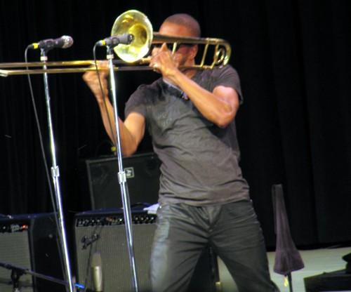 Trombone Shorty performs at the 52nd annual Philadelphia Folk Festival in 2013 (Shaun Smith).