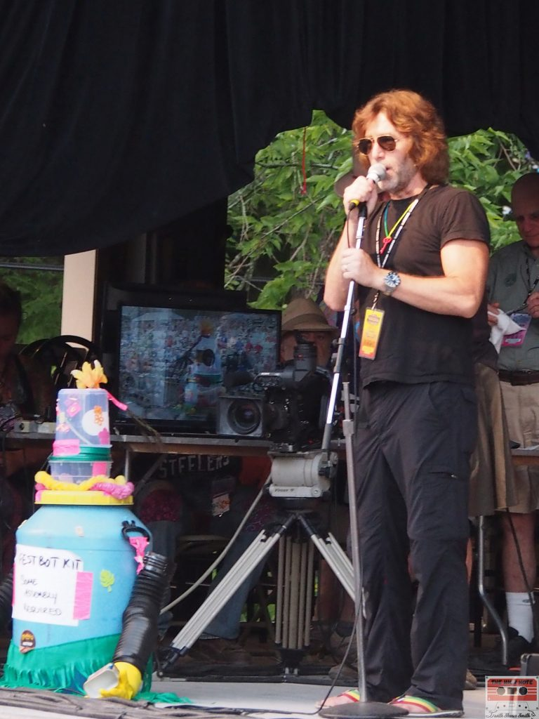 John Flynn and FestBot at the 54th annual Philadelphia Folk Festival.
