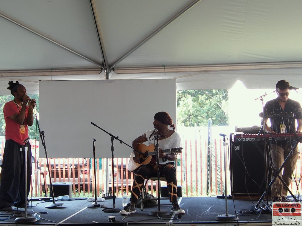 "The Kuf Knotz Band, from left, Kuf Knotz, Melvin ""Blaqmel"" McKnight and Adam Ahuja perform at the 54th annual Philadelphia Folk Festival."