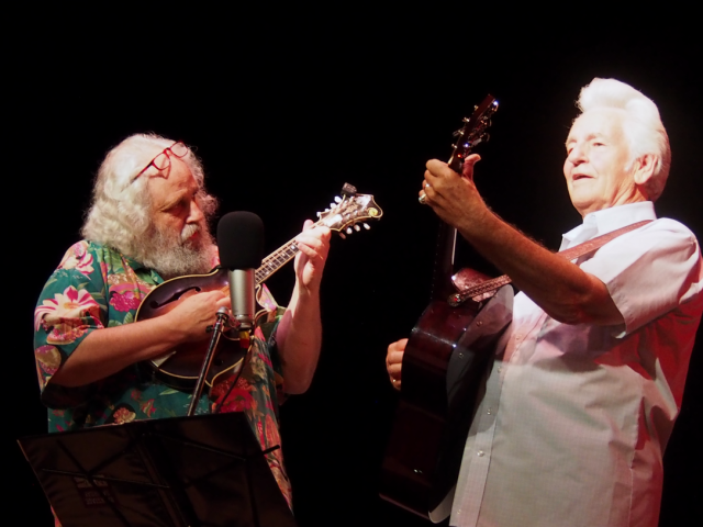 David Grisman and Del McCoury perform as Del and Dawg at the 55th annual Philadelphia Folk Festival (Shaun Smith/The High Note).