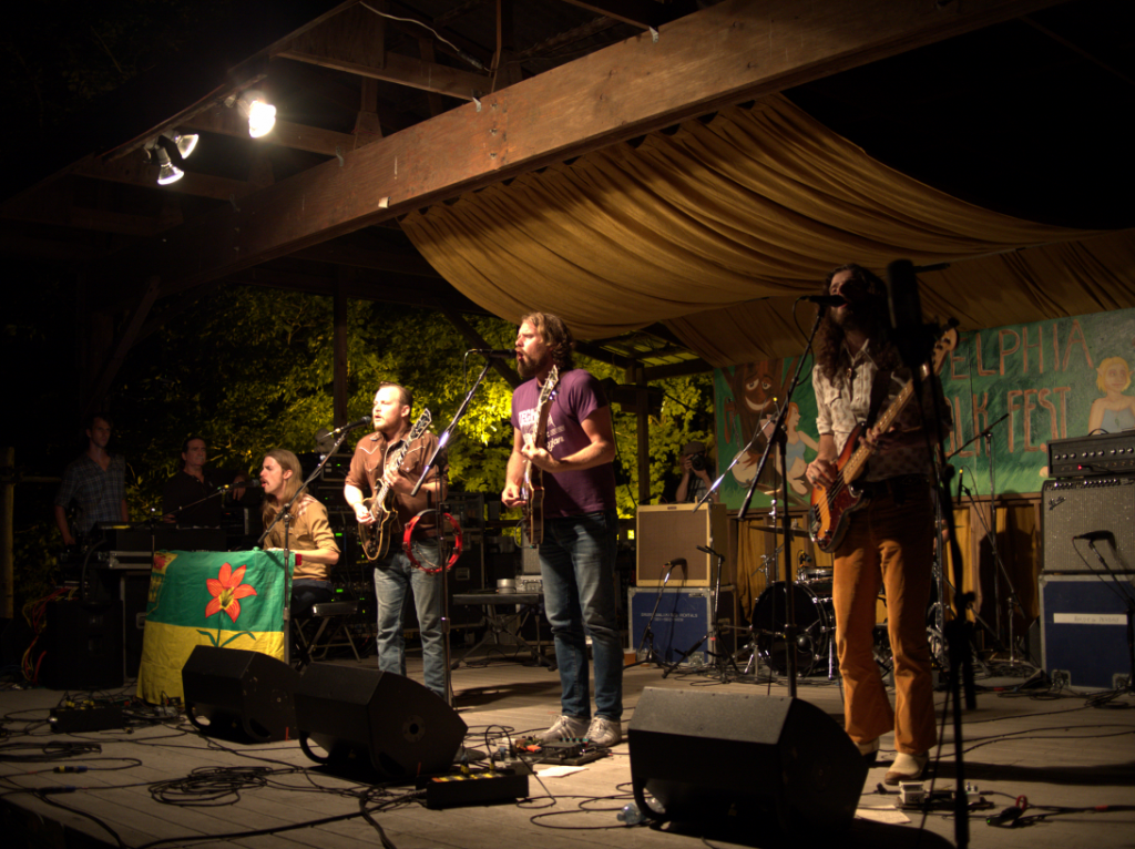 The Sheepdogs perform at the Thursday night concert for campers at the 55th annual Philadelphia Folk Festival (Shaun Smith/ The High Note).