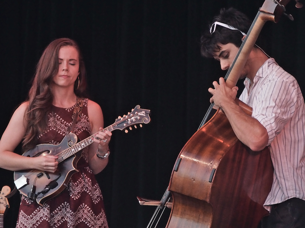 Sierra Hull performs with Ethan Jodziewicz Saturday evening on the Martin Guitar Main Stage at the 56th annual Philadelphia Folk Festival (The High Note/ Shaun R. Smith).