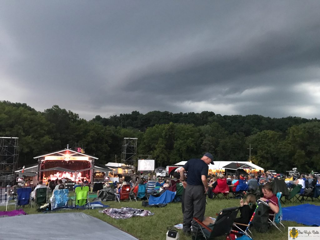 Dark clouds hang over the Martin Guitar Main Stage at the 57th annual Philadelphia Folk Festival.