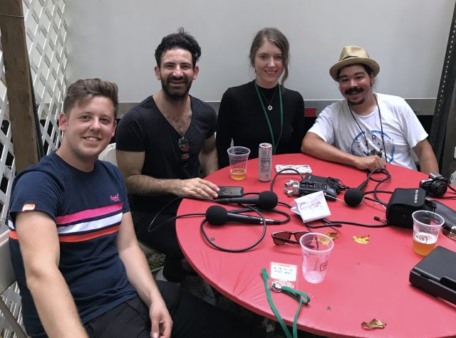 The members of Talisk, guitarist Graeme Armstrong, concertina player Mohsen Amini, fiddle player Hayley Keenan and Shaun Smith record The High Note podcast Sunday, Aug. 18, 2019 at the 58th annual Philadelphia Folk Festival (Dave Gunning/The High Note).